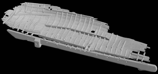 Un modelo a pequeña escala del naufragio vikingo fue creado para ser utilizado para varios tipos de análisis científicos. (Massimiliano Ditta)