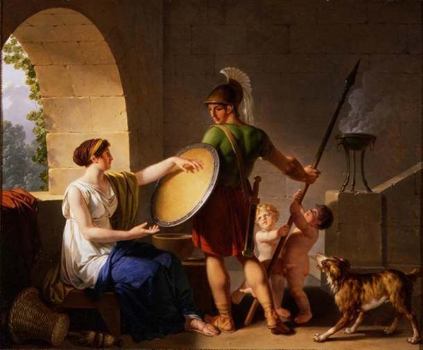 """""""Una mujer espartana dando un escudo a su hijo"""" (1826) por Jean-Jacques-François Le Barbier. ( Dominio público )"""