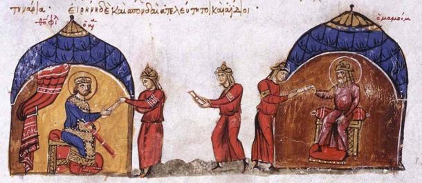 El califa abasí envía un comunicado al emperador bizantino Theophilos. (Dominio público)
