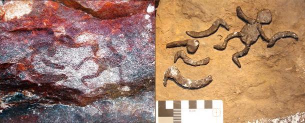 Izquierda: parte del arte rupestre aborigen encontrado en el sitio Yilbilinji en el Parque Nacional Limmen. Derecha: los arqueólogos que intentan replicar el panel de motivos antropomorfo y boomerang. (L.M. Brady / Antiquity Publications Ltd)