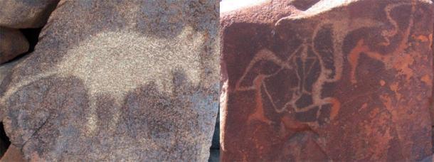 Arte aborigen en la región (arte rupestre de Burrup). (Izquierda; Jussarian / CC BY-SA 2.0 Derecha; Tradimus / CC0)