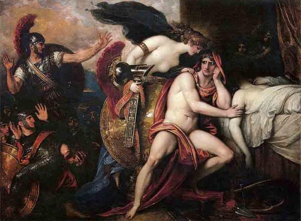 Aquiles junto al cuerpo de Patroclo mientras su madre le trae una armadura para vengar su muerte. Históricamente, la relación entre Patroclo y Aquiles ha provocado especulaciones. (Dominio público)