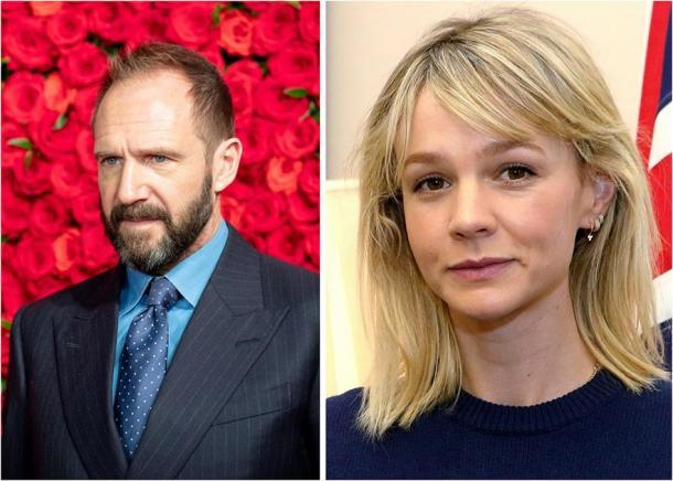 Derecha: Ralph Fiennes, que interpretará a Basil Brown en la película de Sutton Hoo, The Dig. (Dick Thomas Johnson / CC BY 2.0). Izquierda: Carey Mulligan, quien interpretará a Edith Pretty. (Oficina de Asuntos Exteriores y de la Commonwealth/ CC BY 2.0)