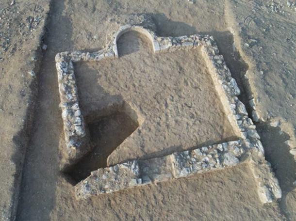 Toma aérea de la antigua mezquita, datada entre 600 y 700 d.C. (Emil Aladjem / Autoridad de Antigüedades de Israel)
