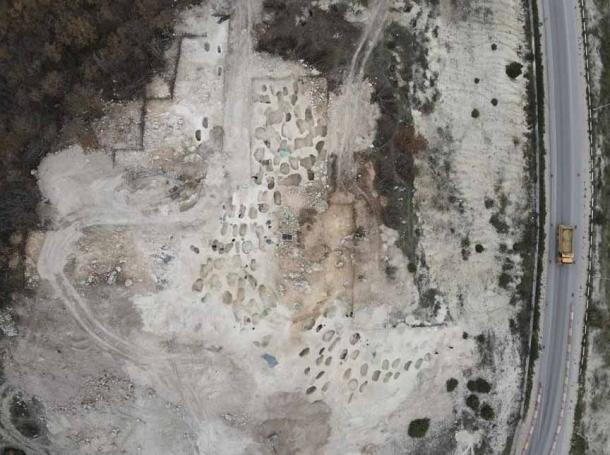 Una vista aérea de la necrópolis escita en Crimea, que se determinó que era un cementerio de élite. (Instituto Ruso de Arqueología RAS)
