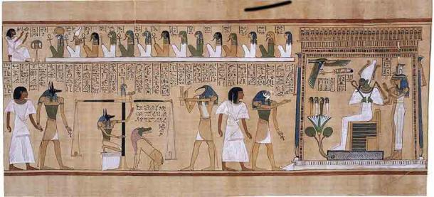 Para llegar a la otra vida, era necesario preservar el cadáver. Durante el juicio, su corazón sería pesado y comparado con una pluma de Maat, y los justos serían bienvenidos en Aaru, el paraíso celestial gobernado por Osiris, el dios del más allá. (Dominio público)
