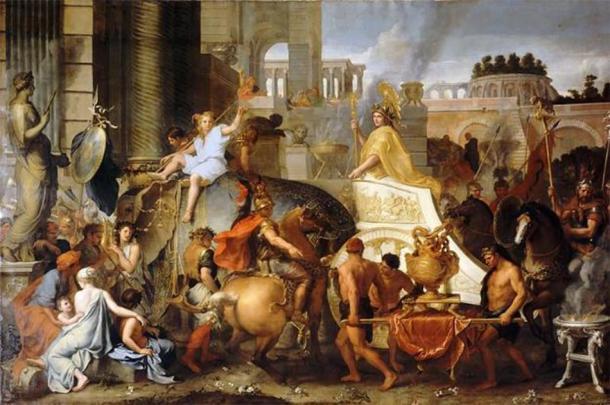 """""""Entrada de Alejandro en Babilonia"""" (1665) por Charles Le Brun. (Dominio publico)"""