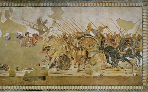 Alexander Mosaic (que representa la Batalla de Issus o la Batalla de Gaugamela), de la Casa del Fauno, Pompeya (VI, 12, 2), época romana, Museo Arqueológico Nacional, Nápoles, Italia. (Lucas / CC BY SA 2.0