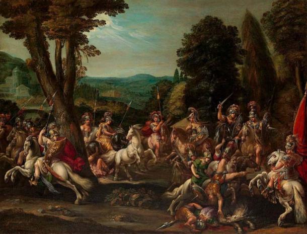 Las amazonas triunfan en la batalla. (Pharos / Dominio Público)