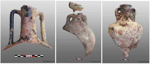Ánforas recuperadas del último naufragio romano encontrado. (ΥΠΠΟΑ / Ministerio de Cultura griego)
