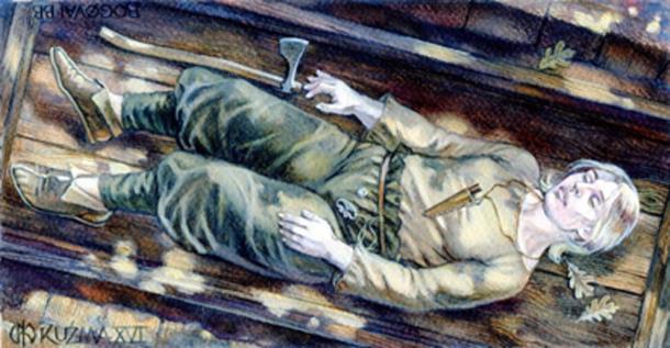 Reconstrucción artística de un sitio de entierro en Dinamarca donde los arqueólogos encontraron los restos de una mujer guerrera con un hacha de la región del Báltico del Sur. (Mirosław Kuźma / Uso Justo)