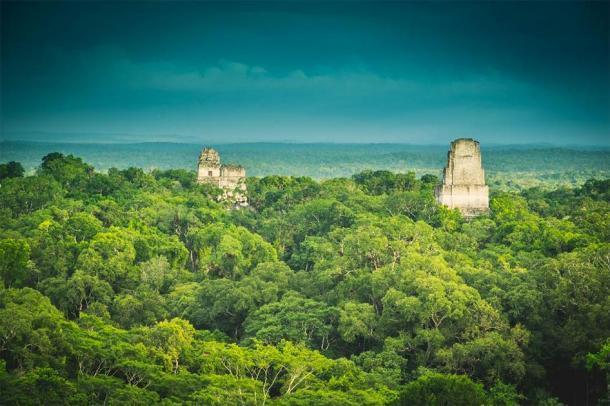 La antigua ciudad de Tikal se eleva sobre la selva tropical en el norte de Guatemala. (Ai / Adobe Stock)