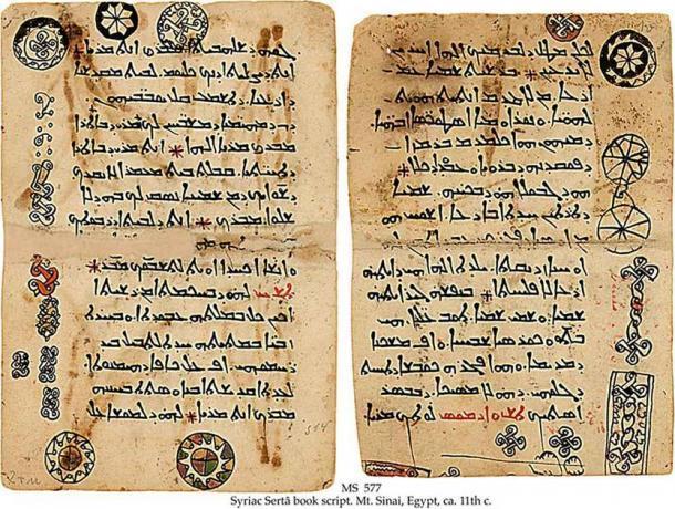 Antiguos escritos en arameo (uno de los idiomas más antiguos) del guión del libro siríaco Sertâ. monte Sinaí, Egipto. Siglo 11. (Dominio publico)