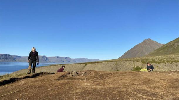 """Según la Dra. Margrét Hallmundsdóttir, la arqueóloga que dirige el estudio, la cabaña descubierta en la remota décima granja es """"muy grande y el piso tiene al menos diecisiete metros de largo"""". (Margrét Hallmundsdóttir / RUV)"""