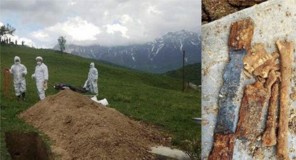 Izquierda: arqueólogos excavando el sitio. Derecha: parte de la espada y restos esqueléticos del guerrero parto desenterrados en el sitio. (Radiofarda)