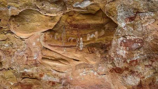 Solo algunos de los excepcionales arte rupestres encontrados en el sitio de Vale da Pedra Furada en Brasil, donde se descubrió la inusual herramienta de piedra. (Diego Rego Monteiro / CC BY-SA 4.0)