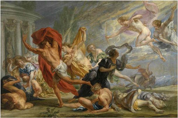Apolo y Artemis matan a los niños de Niobe (Jan Boeckhorst / Public domain)