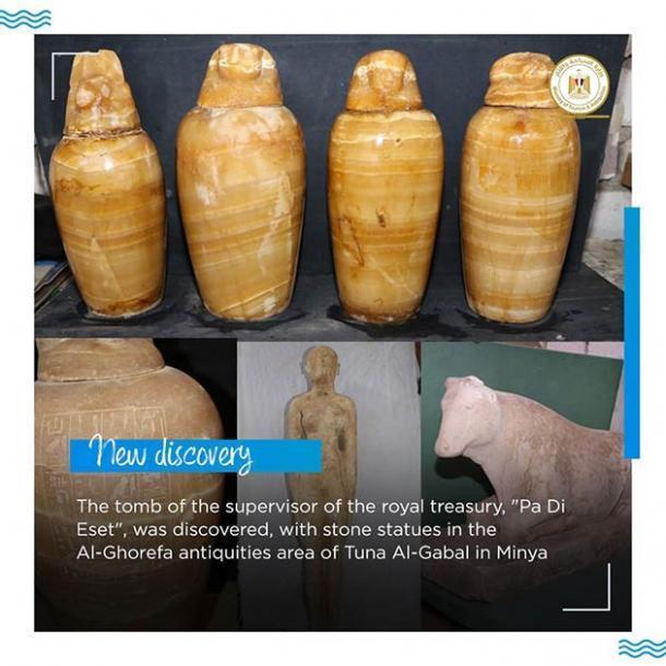 Solo una pequeña selección de los artefactos y ajuares encontrados recientemente en Egipto. (Ministerio de Turismo y Antigüedades)