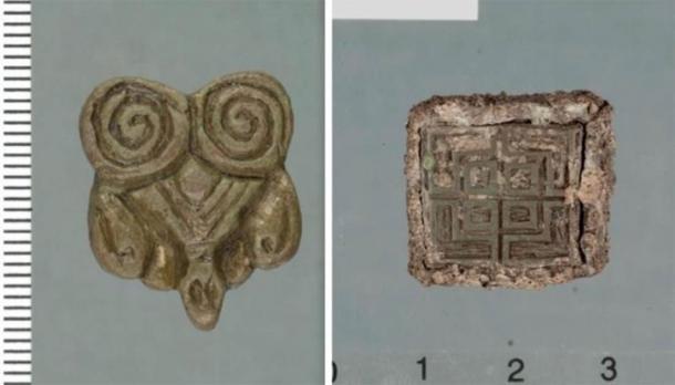 Los artefactos descubiertos por Tor-Kjetil Krokmyrdal en la granja Sandtorg, que se cree que alguna vez fue una estación comercial vikinga, incluyen objetos de origen oriental (a la izquierda) y de las Islas Británicas (a la derecha). (Imágenes: Julie Holme Damman, Museo de la Universidad del Ártico de Noruega y Tor-Ketil Krokmyrdal)