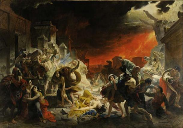 Impresión artística de la erupción del monte Vesubio en Pompeya. (Dcoetzee / Dominio Público)