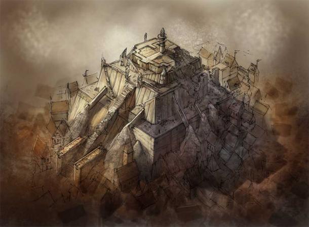 Obra de arte que muestra el aspecto que pudo haber tenido el Jiroft Ziggurat. Algunos expertos creen que el antiguo monumento descubierto cerca de Jiroft en el sureste de Irán es la cuna original de la civilización. Las excavaciones allí revelaron una ciudadela de dos pisos que cubre 33 acres (13,5 hectáreas). (David Revoy - Fundación Blender / CC BY 3.0)
