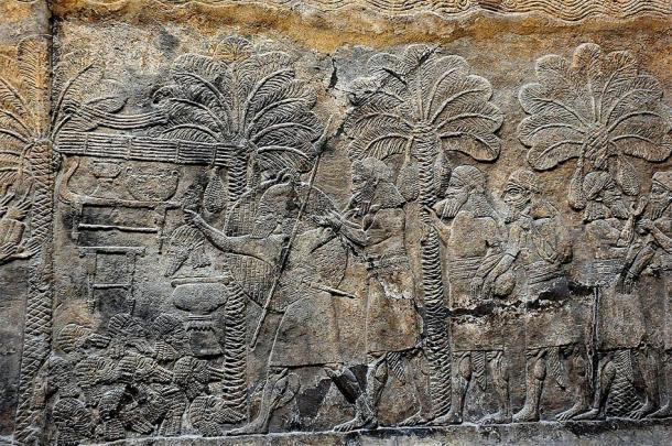 Campaña militar asiria en el sur de Mesopotamia, 640-620 a. C., a partir de un bajo relieve de alabastro ubicado en el Palacio Sudoeste de Nínive. (Osama Shukir Muhammed Amin / CC BY-SA 4.0)