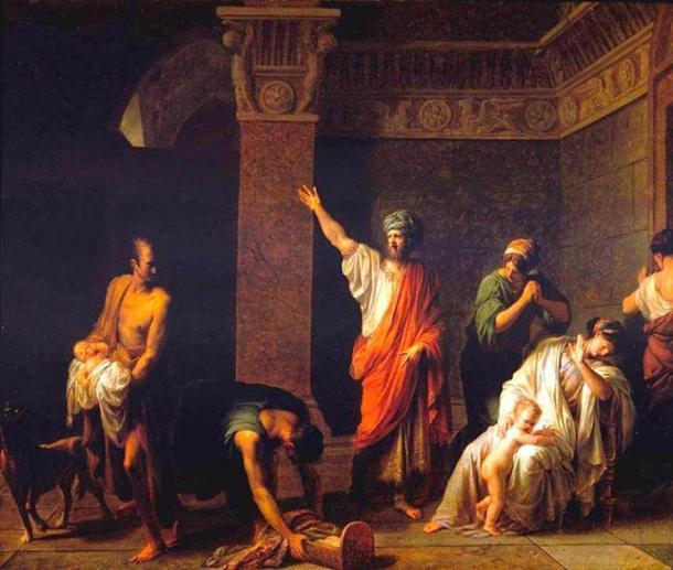 Rey Astyages ordena a Harpagus matar al joven Cyrus. (JarektUploadBot / Dominio público)