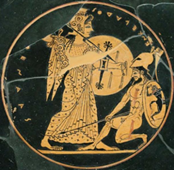 Atenea, a la izquierda, luchando contra el gigante Encelado. (Bibi Saint-Pol / Dominio público)