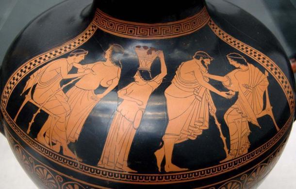 Hidria ático de figuras rojas de alrededor del año 490 a.C., que representa una visita a las hetaeras para ver a las Hetairai (cortesanas). (Dominio público)