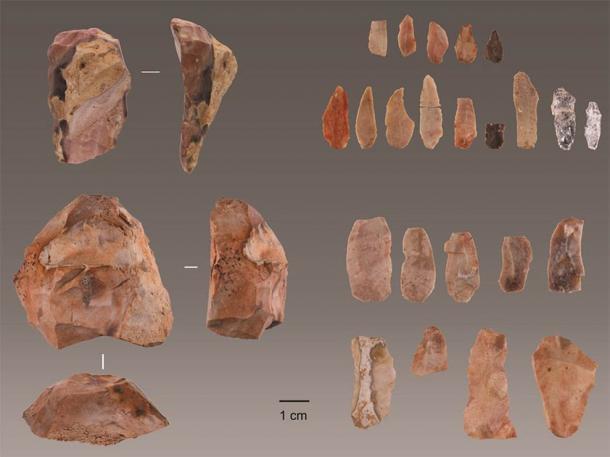 Herramientas auriñacienses descubiertas en Lapa do Picareiro en el centro de Portugal. (Jonathan Haws / Universidad de Louisville)