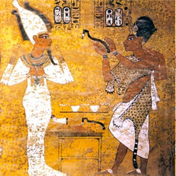 Ay realizando la apertura de la ceremonia de la boca para Tutankamón, escena de la tumba de Tutankamon. (Nikola Smolenski / Dominio público)