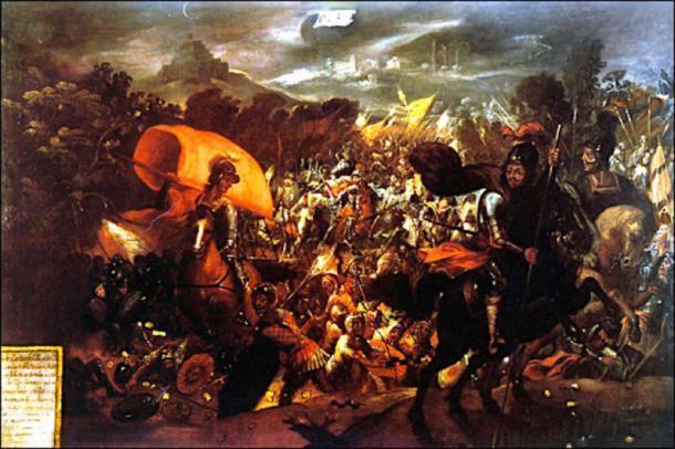 La barra de oro azteca se perdió cuando los españoles huyeron durante la batalla de La Noche Triste. (Ptcamn ~ commonswiki / Dominio público)