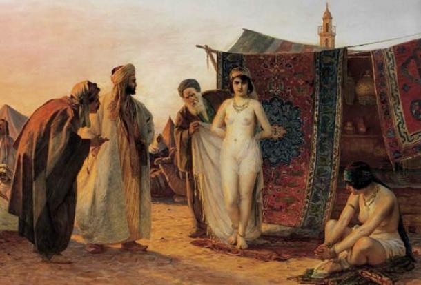 El comercio de esclavos de Berbería se representa típicamente como musulmanes capturando cristianos blancos, como en la obra de arte anterior, pero esto no es del todo exacto. Fuente de imagen.
