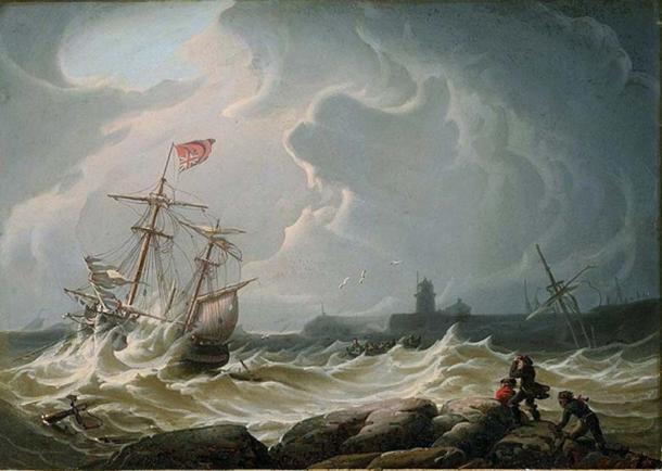 Barco en la tormenta de Robert Salmon. (Dominio publico)