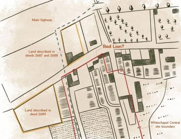 Según sus investigaciones, los arqueólogos de Archeology South-East han producido un mapa de cómo podría haber sido el sitio. Archaeology South-East / UCL)