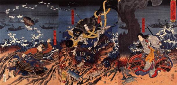 Dan-no-ura tatakai no zu ('Batalla de Dannoura'). Los cangrejos Heikegani se pueden ver en la mitad inferior del cuadro. Fuente de la imagen