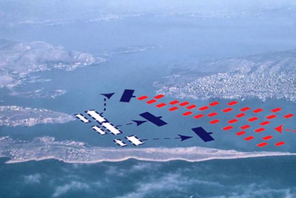 Batalla de Salamis: la flota aqueménida, en rojo, entró desde el este, a la derecha y se enfrentó a la flota griega, en azul, dentro de los límites del estrecho. (ाटलिपुत्र / Dominio Público)