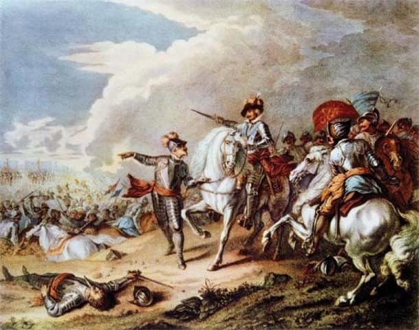 Batalla entre el ejército parlamentario y el ejército realista durante la Guerra Civil inglesa. (El ministerio ilusional / dominio público)