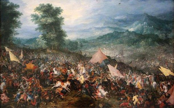 """""""Batalla de Gaugamela"""" (1602) por Jan Brueghel el Viejo. (Dominio publico)"""