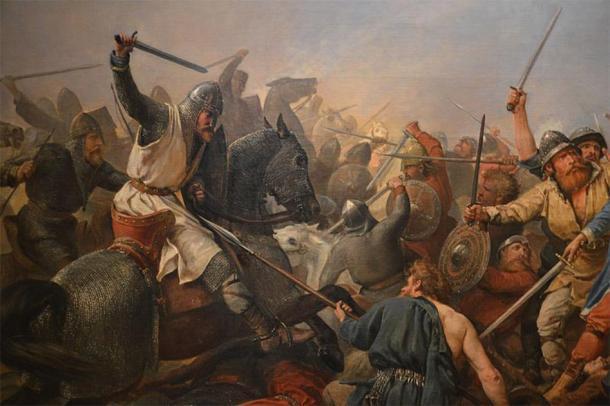 """Detalle de """"La batalla del puente de Stamford"""", Peter Nicholai Arbo, 1870. (Dominio público)"""