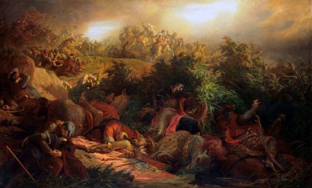 La batalla de Mohács representada por La batalla de Mohács. En el contexto de la hiperviolencia de 1526, es comprensible que alguien haya escondido tal alijo de valiosas monedas de oro y plata en Hungría. (Dominio público)