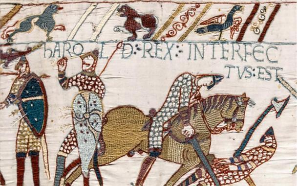Tapiz de Bayeux: la muerte del rey Harold Godwinson en la batalla de Hastings. (Dominio publico)
