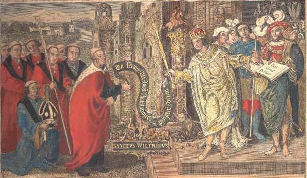 El obispo Wilfrid, consejero espiritual de confianza de Aethelthryth, recibe una carta del rey Caedwella. (Escaneado por Michael Jones de una impresión de T.King / CC BY 2.5)