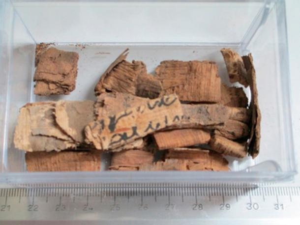 Caja en el Louvre con varios paquetes de papiros doblados en espera de desplegarse y desenrollarse. (Heinz-Eberhard Mahnke, Tobias Arlt et al. CC BY-NC-ND 4.0)