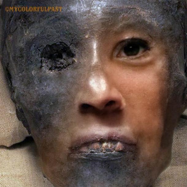 La vida del rostro de Tutankamón de 3345 años. (Cortesía de Matt Loughrey / My Colorful Past)