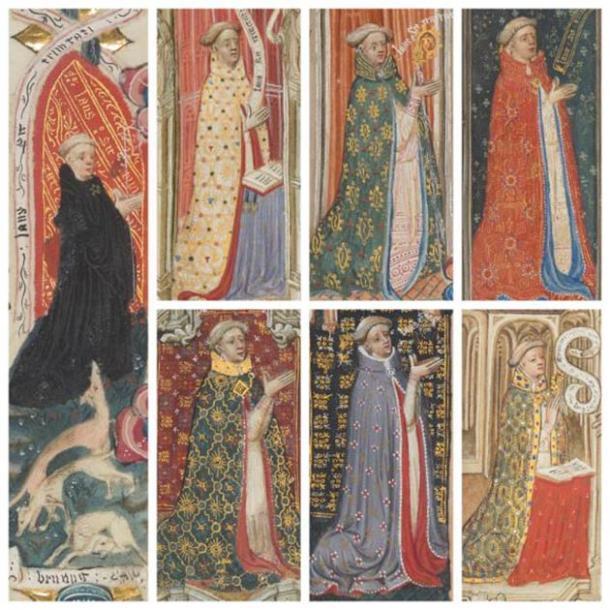 Retratos del abad Brunyng con perros, pág. 492 (izquierda), y con una selección de vestimentas finas, págs. 220, 266, 279 (superior), págs. 262, 264, 51 (inferior) (detalles). (Dominio público)