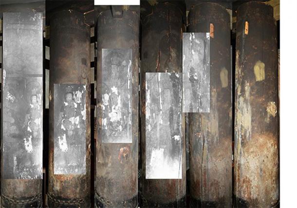 El arte budista se descubrió tomando imágenes infrarrojas de las columnas del templo. (Noriaki Ajima y Yukari Takama)