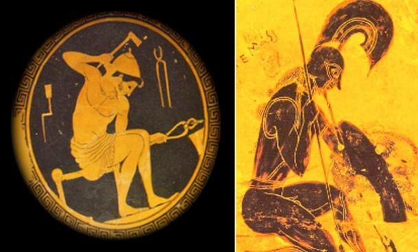 A la izquierda, Caín / Hefesto, en un plato de aproximadamente 420 a.C., trabaja en su fragua. Derecha, Seth / Ares se arrodilla sobre una sección del famoso Vaso de Francois creado alrededor del 565 a.C. (Dominio público)