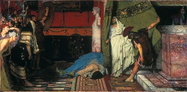 En el año 41 d. C., el emperador romano Calígula fue asesinado. Gratus, miembro del pretoriano, descorre una cortina para revelar al aterrorizado Claudio que es aclamado como emperador en el acto. (Lawrence Alma Tadema / Dominio público). Calígula reinó por alrededor de 4 años.