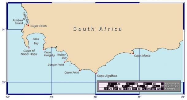 Mapa del Cabo de Buena Esperanza y el Cabo Agul tiene el punto más meridional de África. (Johantheghost / CC BY-SA 3.0)